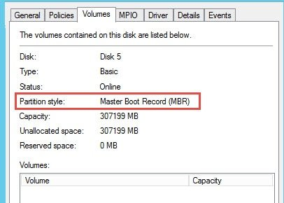 Disk partition style MBR