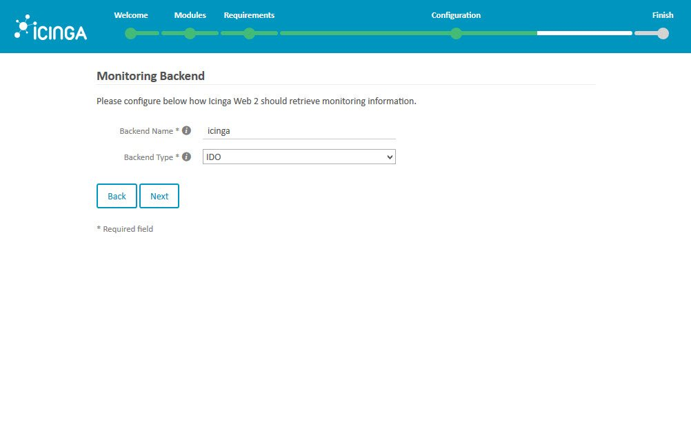Icinga 2 Web Setup Wizard Configuration Monitoring Backend