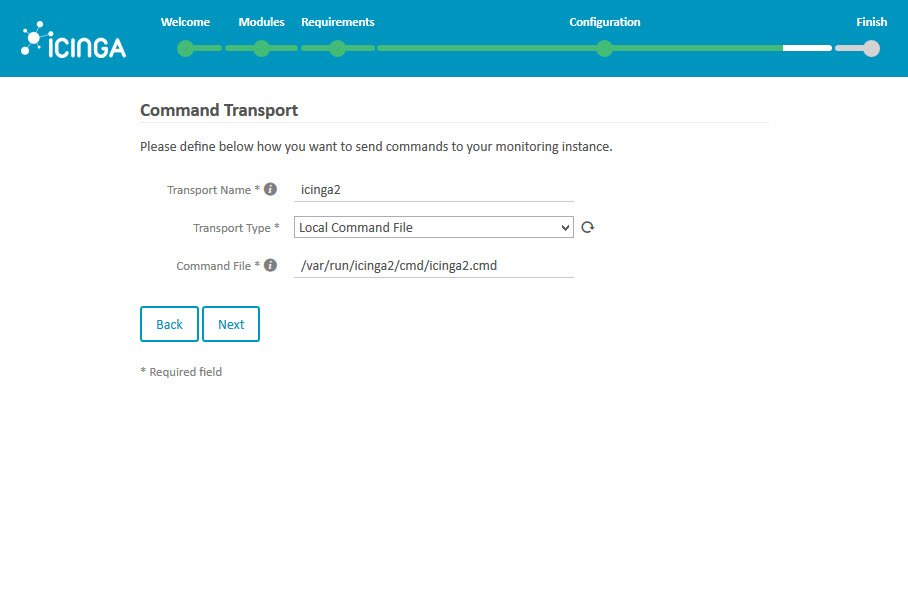 Icinga 2 Web Setup Wizard Configuration Command Transport