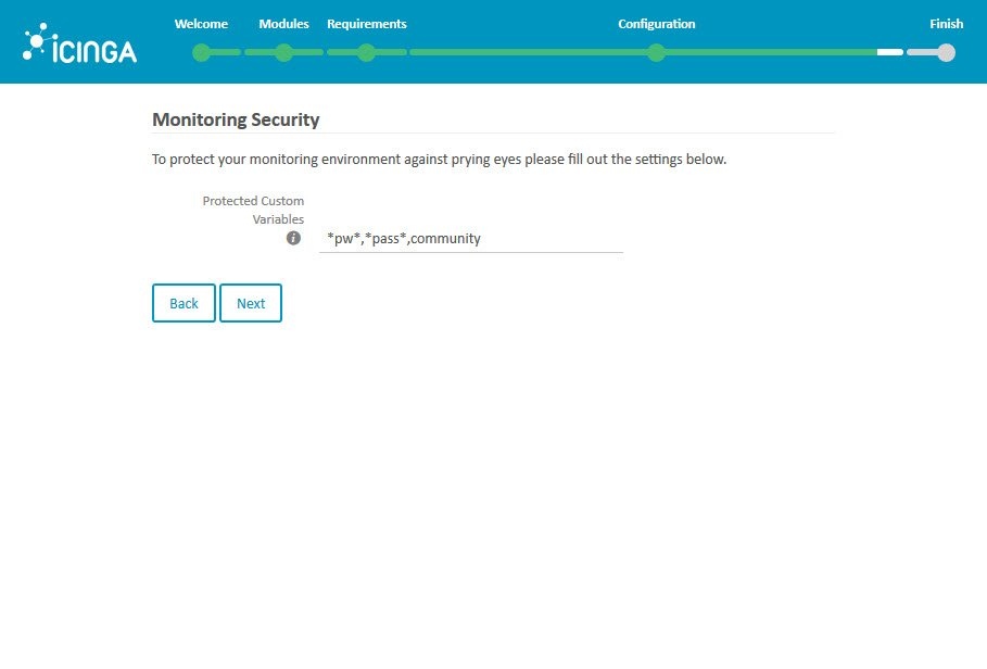 Icinga 2 Web Setup Wizard Configuration Monitoring Security