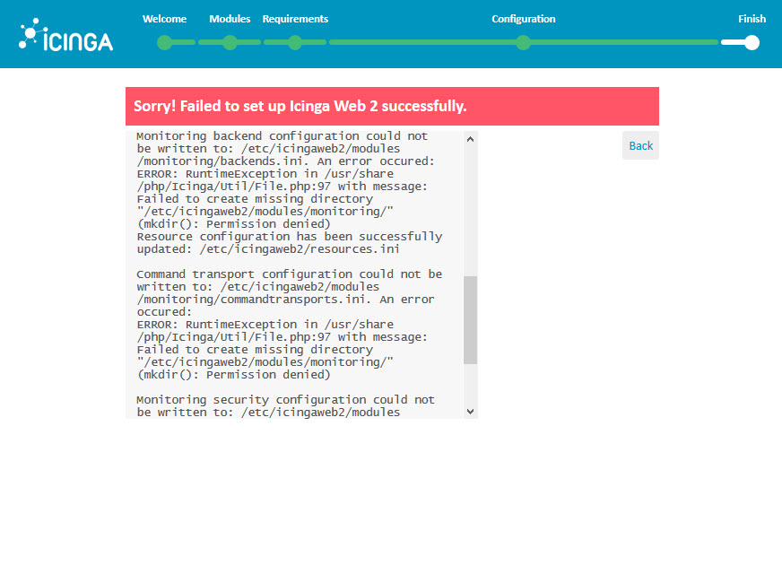 Icinga 2 Web Setup Wizard Configuration failed set up