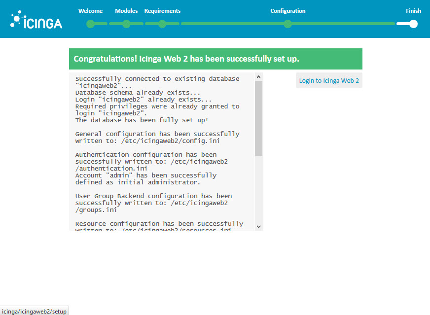 Icinga 2 Web Setup Wizard Configuration succesfully set up