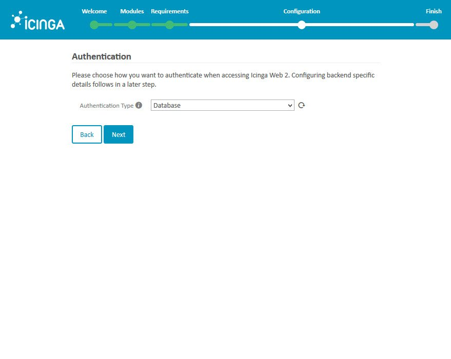 Icinga 2 Web Setup Wizard Configuration Authentication