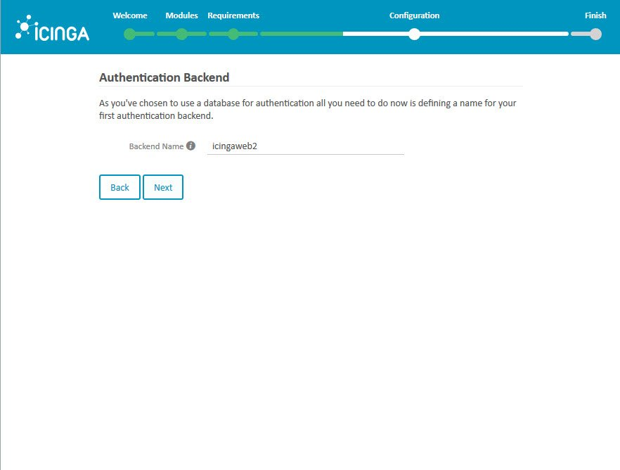 Icinga 2 Web Setup Wizard Configuration Authentication Backend