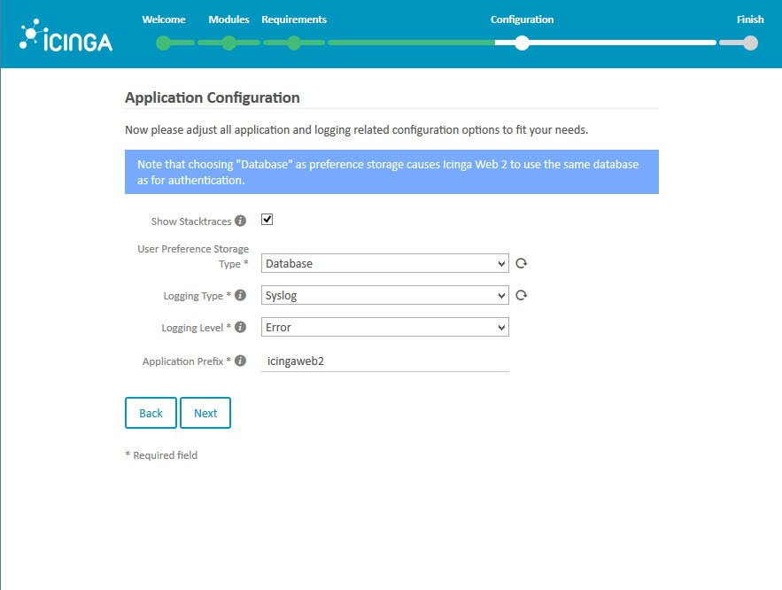 Icinga 2 Web Setup Wizard Configuration Application Configuration