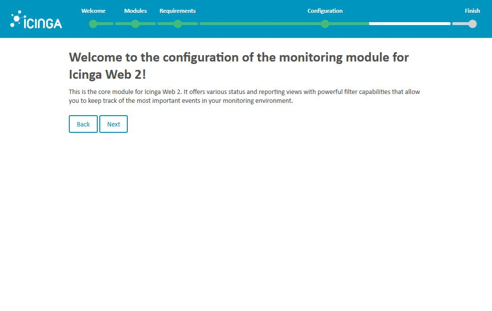 Icinga 2 Web Setup Wizard Configuration Welcome Monitoring Module