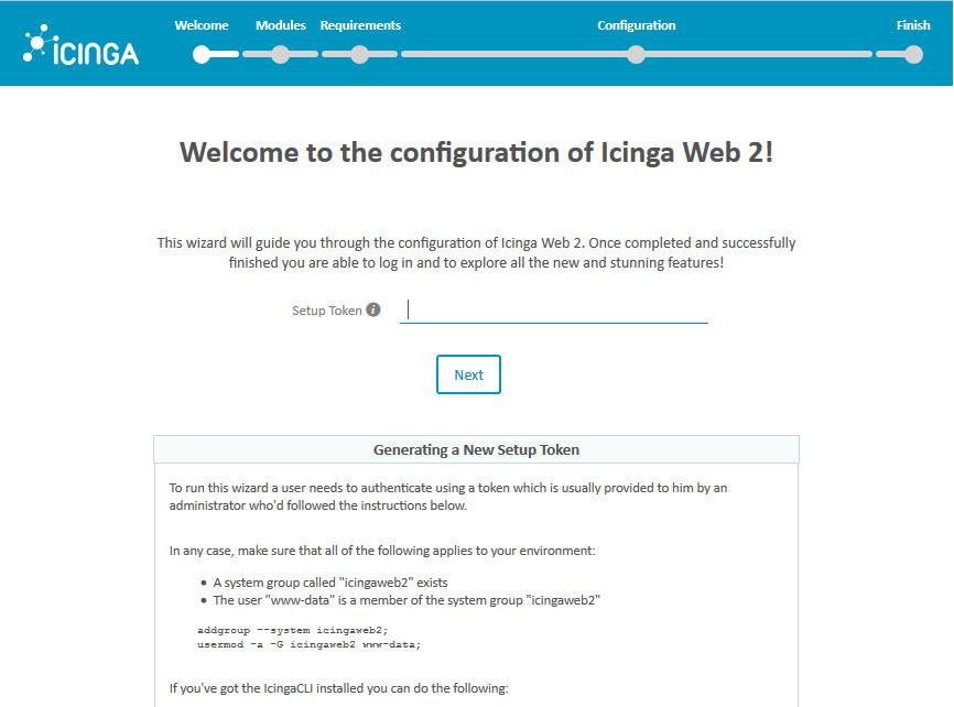 Icinga 2 Web Setup Wizard Token
