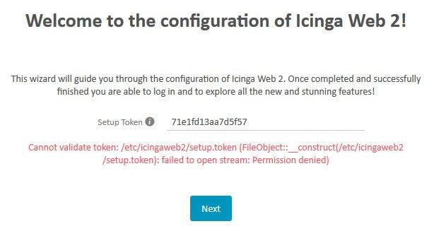 Icinga 2 Web Setup Wizard Token Error