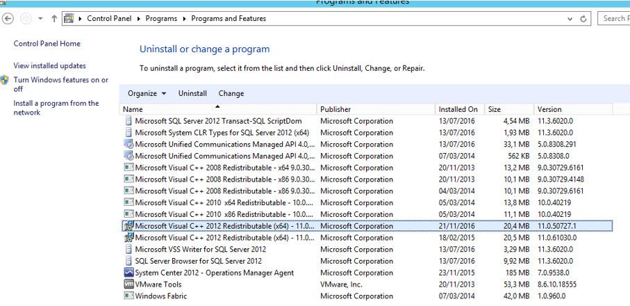 Installed C++ 2012 11.0.50727