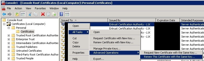 """Renew This Certificate with the Same key..."" option"