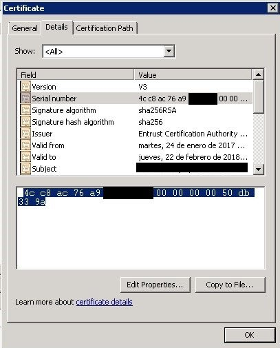 Certificate details showing serial number