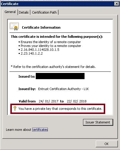 Certificate with private key assigned