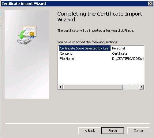 Import certificate mmc