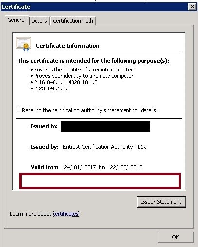 Certificate without private key assigned