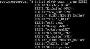 Raspberry - iwconfig scan