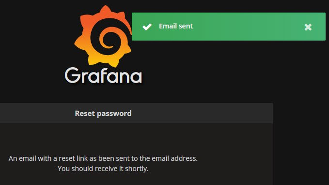 Email sent when resetting password in Grafana