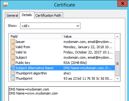 Openssl self signed certificate showing the Subject Alternative Names (SAN)