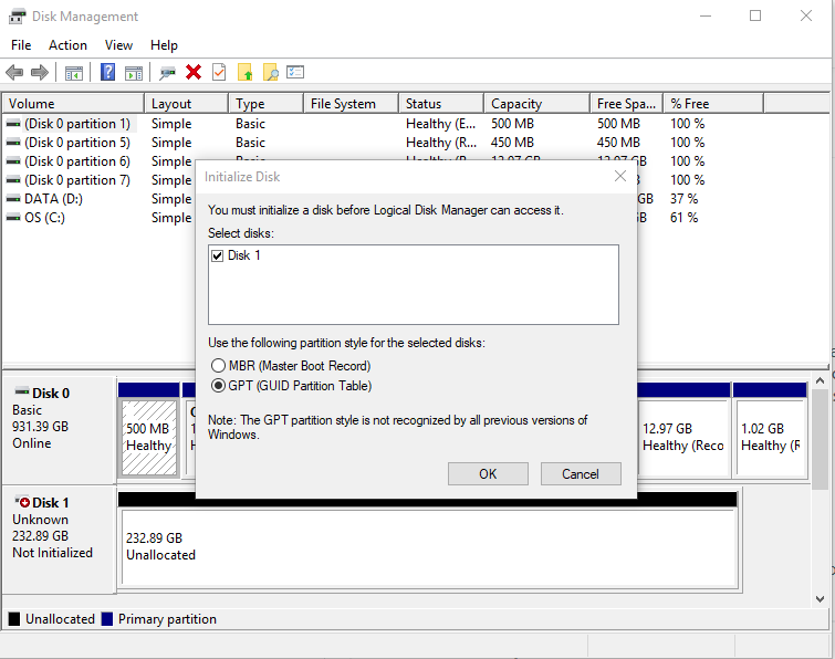 Initialize SSD disk