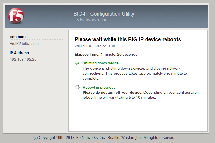 F5 BIGIP - Upgrade an activestandby cluster - Reboot after activating boot location