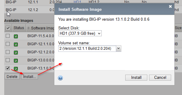 F5 BIGIP - Upgrade an activestandby cluster - Install Image on Disk Volume