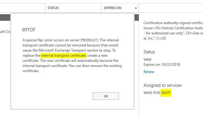 Exchange - Cannot remove exchange certificate