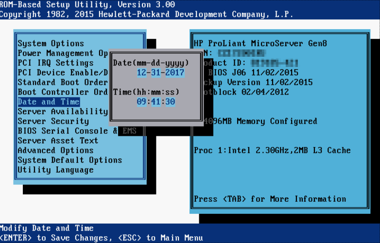 First steps configuring HP Microserver Gen8 - BIOS date time