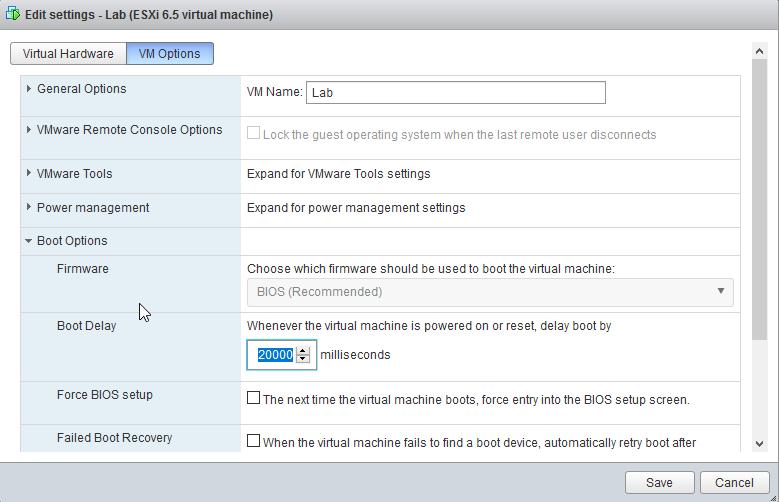 VMWare - Accessing VM boot menu - BIOS too fast