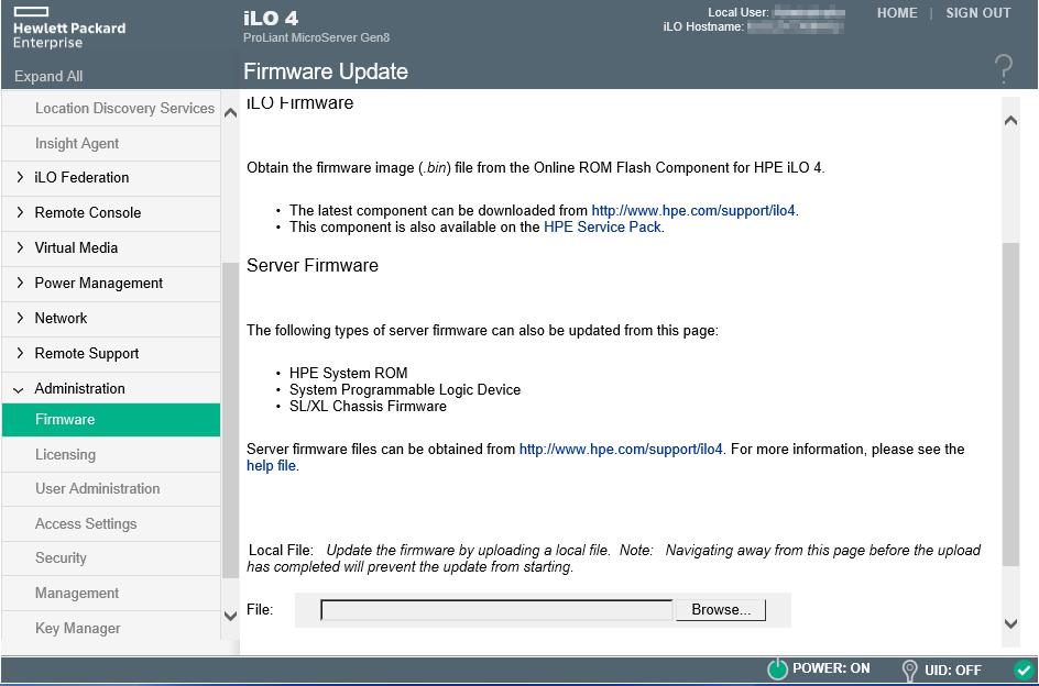 Home Server - Update iLO4 firmware (HTML5 console) - SomoIT net